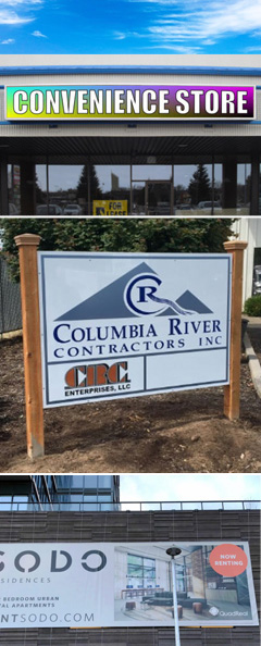 Outdoor Signs: Coroplast Signs, Dibond Signs, Banners, Engraved Signs, Die-Cut Signs, Wood, etc.