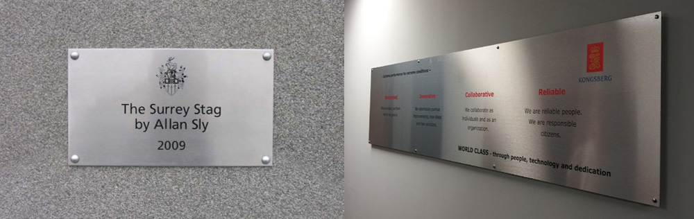 Engraved Stainless Steel Plate (left photo) / Direct digital printing on 3 mm Brushed Silver Dibond with UV inks (right photo)