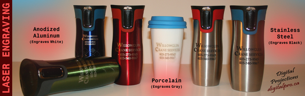 Stainless Steel Contigo Travel Mugs Engraved / Porcelain Mugs Engraved / Anodized Aluminum Bottles Engraved
