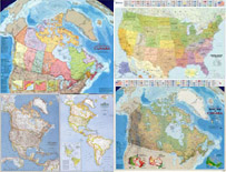 Canada, USA, North America Wall Maps